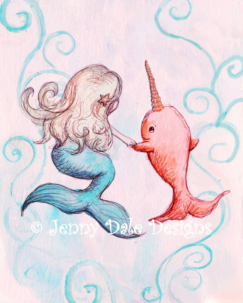 Mermaid Gifts Mermaid Decor Mermaid Art Print Mother S: Narwhal And Mermaid Print Pink Art Mermaid Decor: Art For