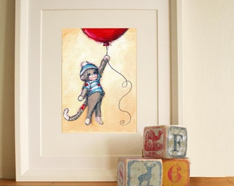 Nursery Art- Cute Sock Monkey and Red Balloon- art print