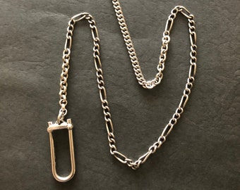 Vintage Short Sterling Watch Chain Assemblage Necklace with Small Locking Charm Holder