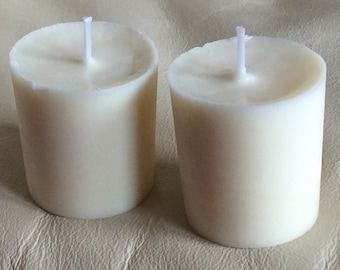 2 x White cotton fresh scented soy wax votive candles