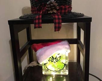 """The Grinch 6""""x6"""" Lighted Glass Block"""