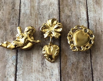 Set of 5 Vintage Gold-colored Button Covers