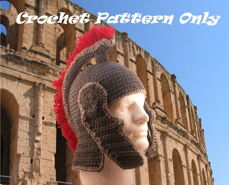 Roman Helmet with chin guards and fringed crest  crochet  image 0