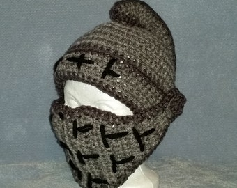 Knight Helmet with Hinged Visor - Crochet - 6 - 12 month size