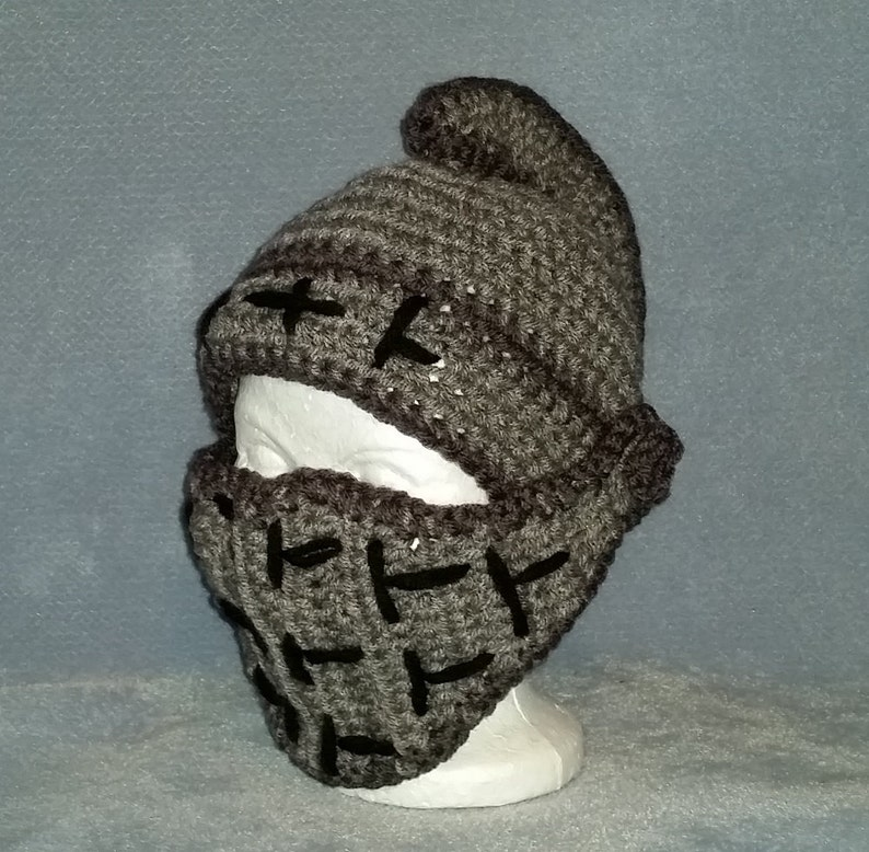 Knight Helmet with Hinged Visor  Crochet  6  12 month size image 0
