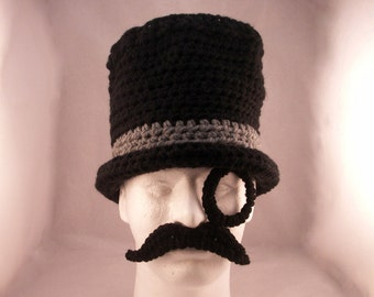 Monocle, Mustache and Top Hat / Like a Sir - crochet - size Adult