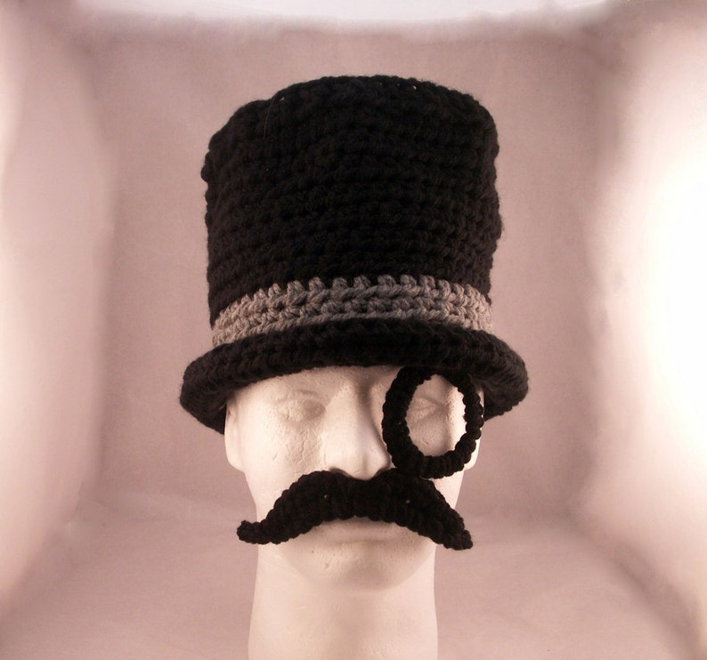 Monocle Mustache and Top Hat / Like a Sir  crochet  size image 0