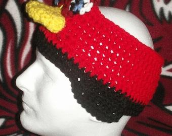 Crochet red bird headband - Adult Size