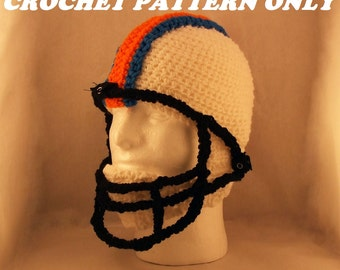 Football helmet with chin strap and face mask - crochet - PATTERN ONLY