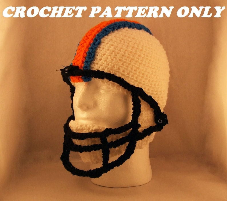 Football helmet with chin strap and face mask  crochet  image 0