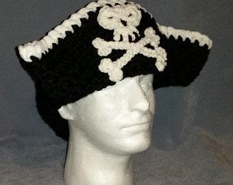 Tricorn Black Pirate Hat - Skull and Crossbones - Crochet