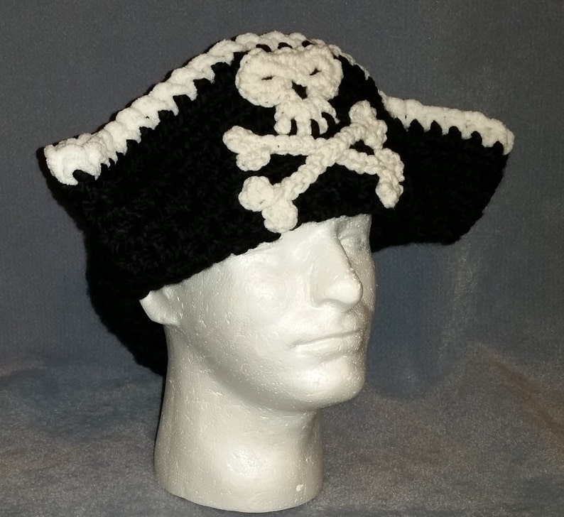 Tricorn Black Pirate Hat  Skull and Crossbones  Crochet image 0