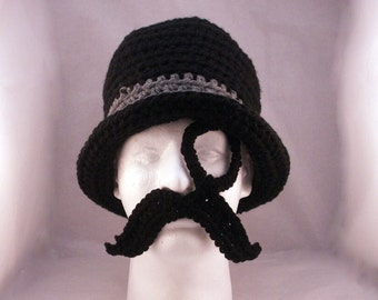 Monocle, Mustache and Bowler hat / Like a Sir - crochet - size Adult