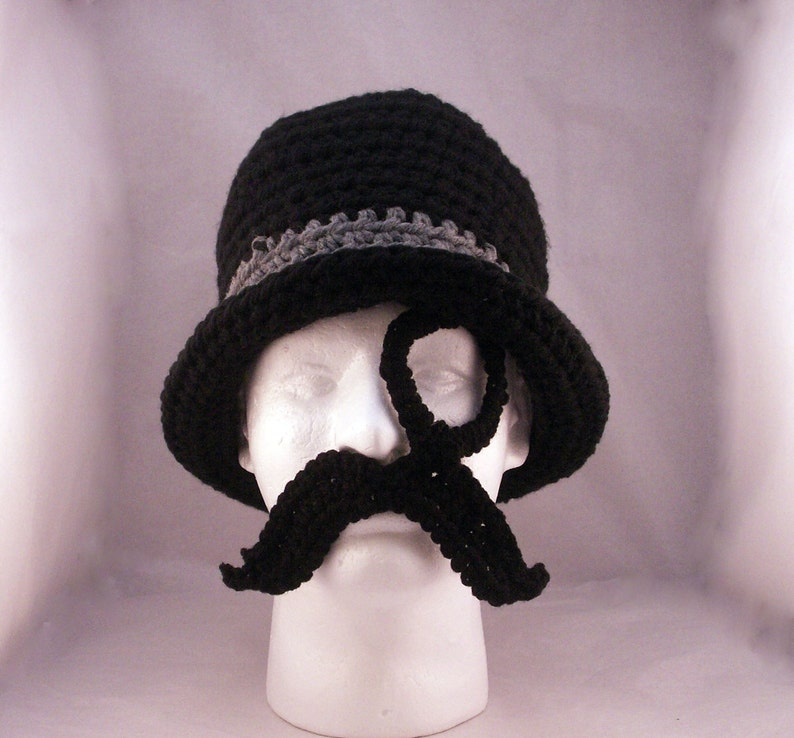 Monocle Mustache and Bowler hat / Like a Sir  crochet  size image 0