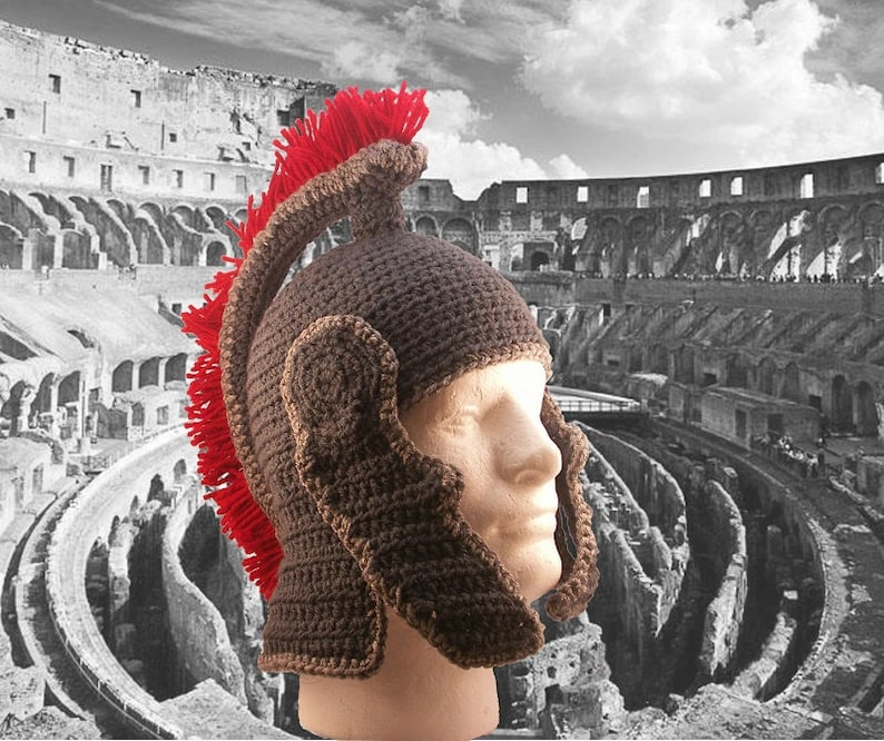 Roman Helmet with chin guards and crest  crochet image 0