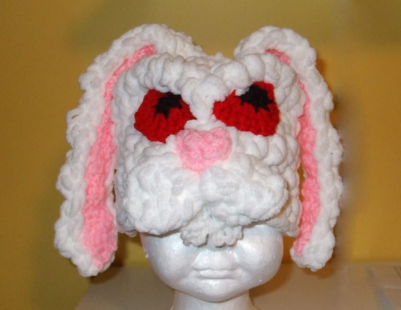 Angry White Rabbit  Easter Bunny Hat  Crochet image 0