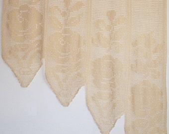 Crochet Lace Rose Curtain - Filet Crochet