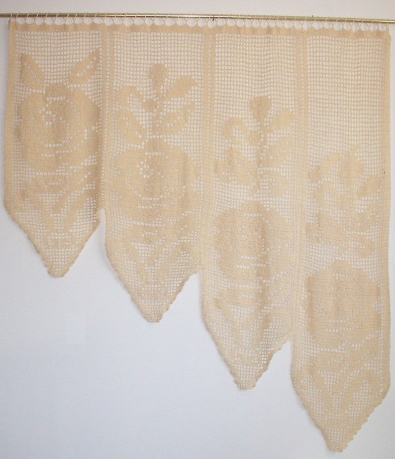 Crochet Lace Rose Curtain  Filet Crochet image 0