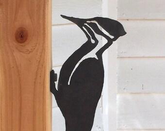 Steel Garden Sculpture 'Pileated Woodpecker'