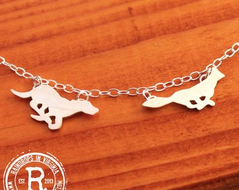 Fox and Hound Silhouette Necklace (Sterling)
