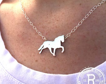 Horse Trot Silhouette Necklace (Sterling)