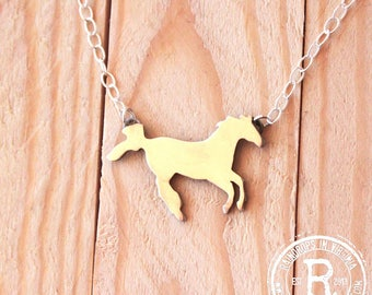 Galloping Horse Silhouette Necklace (Sterling)