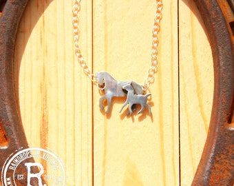 Mare and Foal Silhouette Necklace (Sterling)