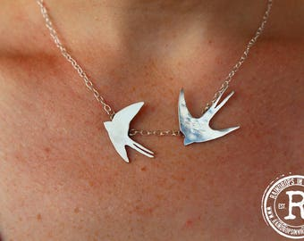 Swallows in Flight Silhouette Necklace (Sterling)