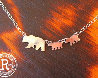 Momma Bear and Cubs Silhouette Necklace (Sterling)