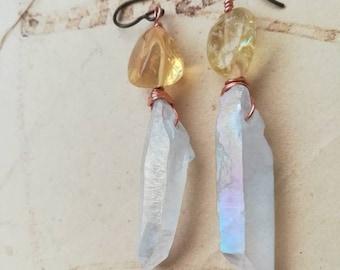 Regenbogen-Aura-Kristall und Citrin Ohrringe   Kupfer Ohrringe   Hypoallergen   Niob Ohrhaken   Leichte   Geburtstagsgeschenk