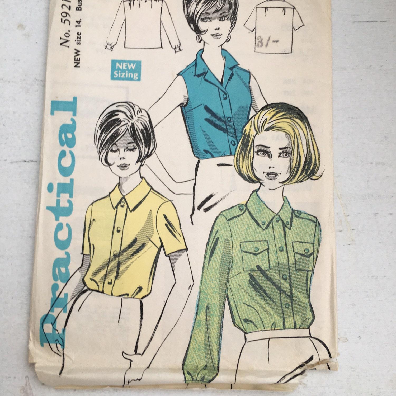 Vintage Schnittmuster, 1960er Jahre praktische Mode, Damen Safari ...