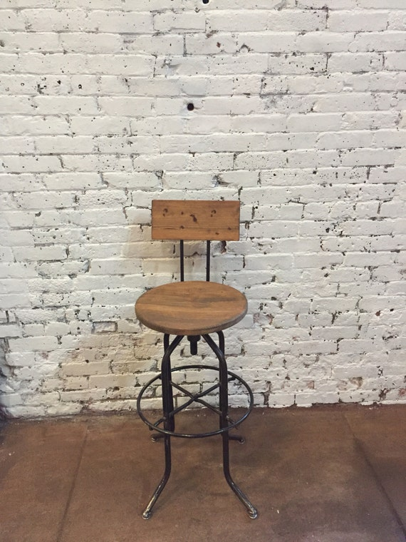 Outstanding Adjustable Bar Stool Industrial Bar Stool Wood Bar Stool Counter Stool Reclaimed Stool Counter Height Stool Caraccident5 Cool Chair Designs And Ideas Caraccident5Info