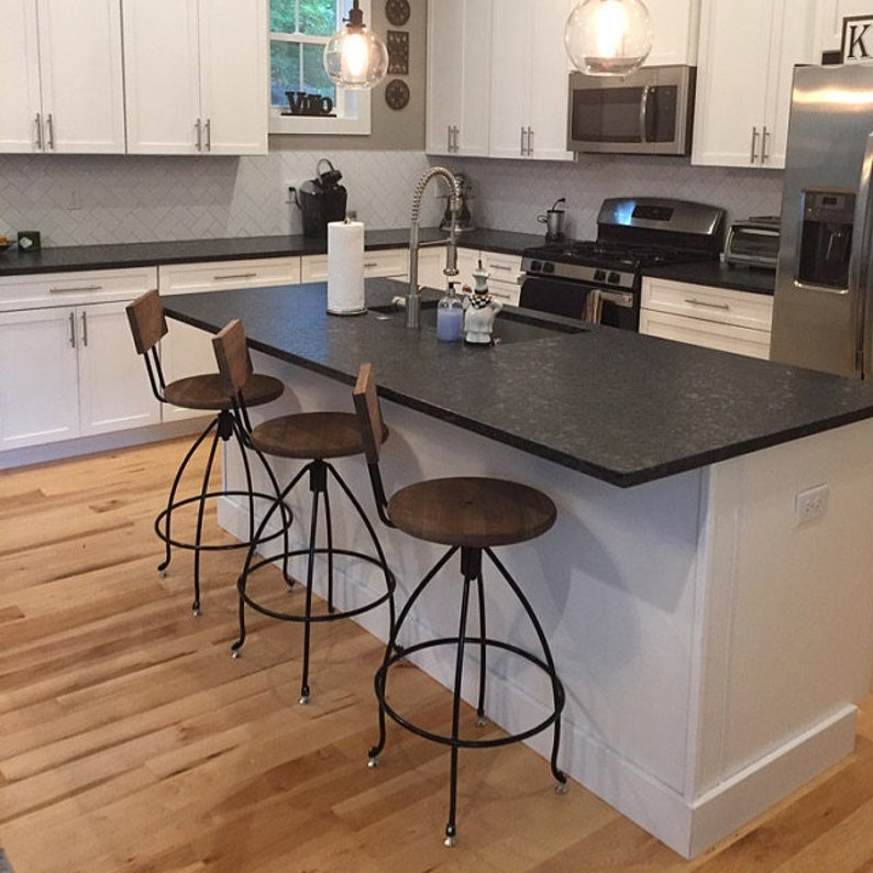 finest selection 21127 f23ce Swivel Counter Stools - Steel & Wood Counter Breakfast Bar Stools with  Backs Raw Steel Black White or Gray - Best Seller