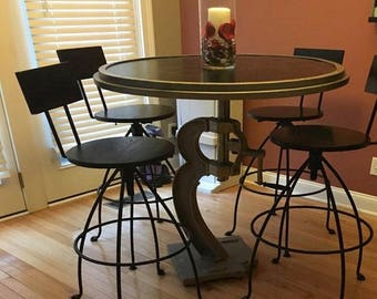 Adjustable Bar Stool -  Stained Pine Wood & Steel Modern Industrial Kitchen Counter or Bar Stool with Back