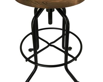 Rustic bar stool, industrial Bar Stool - Commercial Wood & Steel Handcrafted Rustic Strong Bistro Winebar Restaurant The Derby Stool