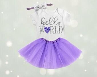 Hello World Newborn Tutu Outfit, Coming Home Onesie, Coming Home Tutu, Coming Home Outfit, Baby Girl Hospital Outfit-NB2 Newborn Tutu-NB1