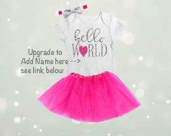 Hello World Newborn Tutu Outfit, Coming Home Onesie, Coming Home Tutu, Coming Home Outfit, Baby Girl Hospital Outfit,Newborn Tutu-NB3