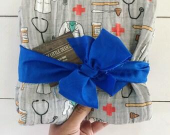 Baby Boy Baby Girl Doctor Nurse Medical Muslin Swaddle Blanket, Baby girl Gauze Swaddle Blanket, Summer swaddle