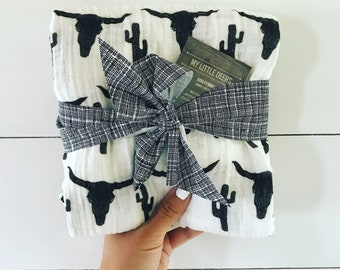 Baby Boy Longhorn Cactus Muslin Swaddle Blanket, Baby girl Gauze Swaddle Blanket, Summer swaddle, Cowboy swaddle,