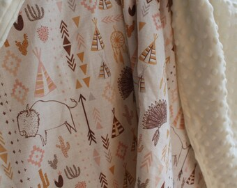 Southwest Baby girl Blanket, buffalo, arrow, teepee, Boppy Cover, Crib Sheet, Changing Pad Cover, Tee Pee, nursery decor, swaddle blanket