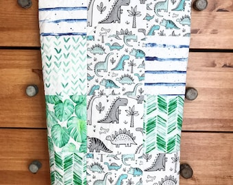 Dinosaur Baby Blanket, stripe, geometric, neutral Baby Blanket, Whole Cloth Quilt, Green baby blanket, Blue baby blanket, Gray baby blanket