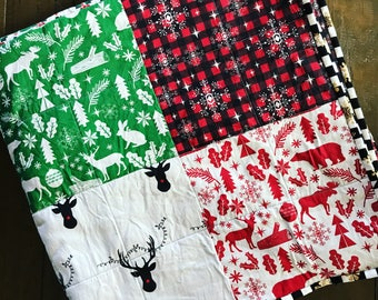 Christmas Quilt, Christmas Blanket, Christmas Decorations, Christmas throw blanket, Christmas gift, Whole cloth Quilt, Holiday blanket
