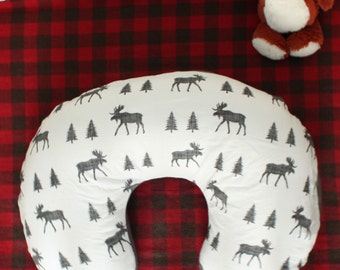 Woodland Forest baby boy Boppy Cover, Moose, Trees, outdoors, adventure, camping, hiking, hunting