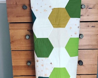 Hexagon, gender neutral, geometric, Baby boy, baby girl Blanket, baby quilt, Whole Cloth Quilt, Green, Blue, Yellow