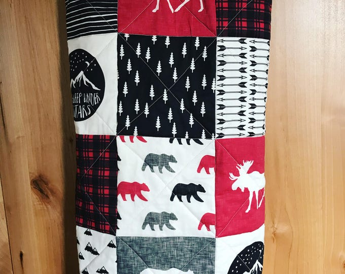 Featured listing image: Woodland Baby Blanket, Camping, Adventure, Outdoors, Bear, Moose Woodland Baby Quilt, Black and Red, Woodland Baby Bedding, Woodland Nursery