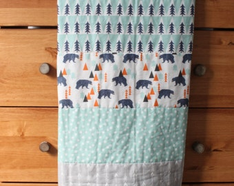 Camping, Woodland, Outdoors, Bear Baby Boy Blanket, baby boy quilt, Whole Cloth Quilt, Green, Blue, Gray, Mustard