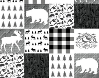 Woodland Baby Blanket, Camping, Adventure, Outdoors, Bear, Moose, Whole Cloth Quilt, Baby quilt, Woodland Nursery,