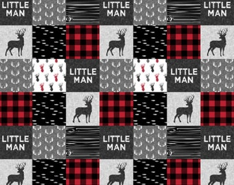 Woodland Little Man Baby Blanket, Camping, Adventure, Outdoors, Bear, Moose Woodland Baby Whole Cloth Quilt, Black and Red