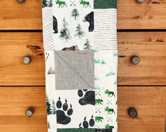 Featured listing image: Baby boy Woodland Baby blanket, Baby Quilt, Gray, Green, Black, Deer, Bear, Moose, Trees, Woodland Baby Bedding, Woodland Nursery Set