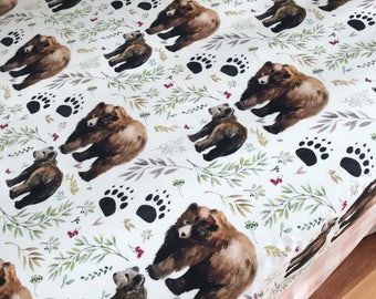 Baby Girl Woodland Mama Bear Blanket, Boppy Cover, Crib Sheet, Changing Pad Cover, Forest, Baby Girl, Nursing pillow cover